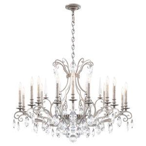 Renaissance Nouveau Antique Silver 18-Light Chandelier