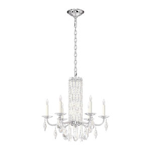 Sarella White Six-Light Chandelier with Clear Heritage Crystal