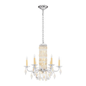Sarella Heirloom Gold Six-Light Chandelier with Clear Heritage Crystal