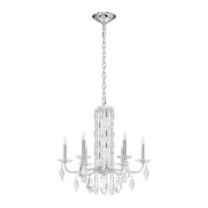 Sarella Stainless Steel Six-Light Chandelier with Clear Crystal from Swarovski