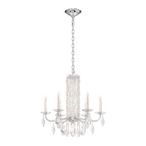 Sarella Antique Silver Six-Light Chandelier with Clear Heritage Crystal