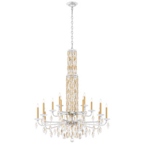 Sarella Heirloom Gold 51-Inch 15-Light Chandelier with Clear Crystal from Swarovski