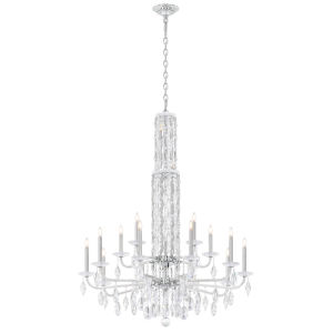 Sarella Antique Silver 51-Inch 15-Light Chandelier with Clear Crystal from Swarovski