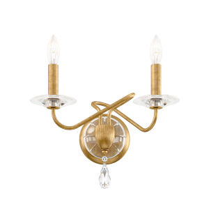 Arabesque Heirloom Gold Two-Light Wall Sconce with Clear Heritage Crystal