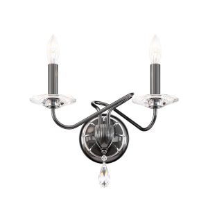 Arabesque Black Pearl Two-Light Wall Sconce with Clear Heritage Crystal