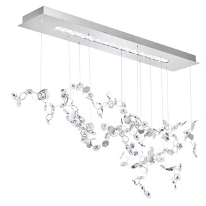 Crystalon Stainless Steel Three-Light LED Pendant with Clear and Aurora Borealis Swarovski Crystals