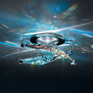 4 Reflex Chrome One-Light Recessed Light with Aurora Borealis Swarovski Crystals