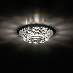 Ringlet Stainless Steel One-Light Recessed Light with Clear Swarovski Crystals