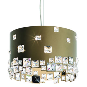 Mosaix Bronze Six-Light Pendant with Clear Swarovski Crystals