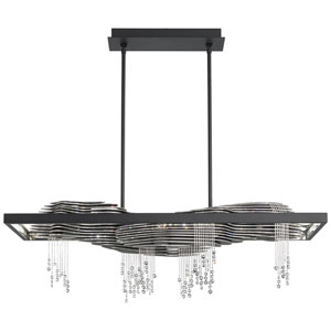Sevetti Black 40-Inch 3000K LED Pendant with Clear Swarovski Crystals