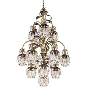 Rondelle Etruscan Gold 13-Light Soft Jewel Vintage Crystal Chandelier, 28W x 42.5H x 28D
