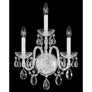 Arlington Silver Three-Light Clear Heritage Handcut Crystal Wall Sconce, 14.5W x 19.5H x 14.5D