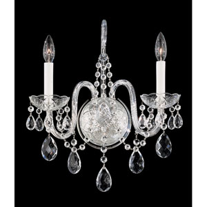 Arlington Silver Two-Light Clear Heritage Handcut Crystal Wall Sconce, 14.5W x 16H x 14.5D