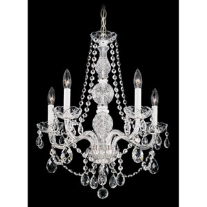 Arlington Silver Five-Light Clear Heritage Handcut Crystal Chandelier, 20.5W x 24H x 20.5D