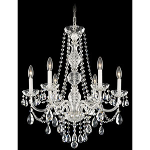 Arlington Silver Six-Light Clear Heritage Handcut Crystal Chandelier, 24W x 28H x 24D