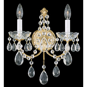 Madison Gold Two-Light Clear Heritage Handcut Crystal Wall Sconce, 12W x 14.5H x 12D