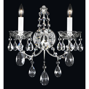 Madison Silver Two-Light Clear Heritage Handcut Crystal Wall Sconce, 12W x 14.5H x 12D
