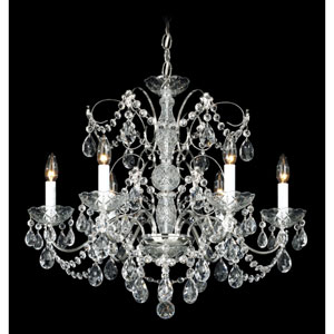 Madison Silver Six-Light Clear Heritage Handcut Crystal Chandelier, 24W x 21.5H x 24D