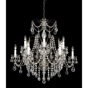 Madison Etruscan Gold 12-Light Clear Heritage Handcut Crystal Chandelier, 30W x 30H x 30D