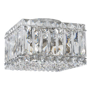 Quantum Stainless Steel Four-Light Crystal Swarovski Strass Flush Mount Light, 8W x 6H x 8D