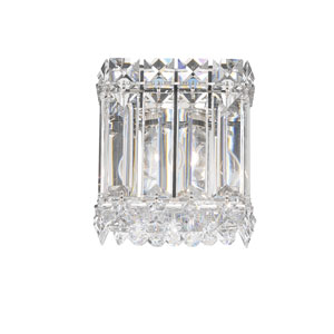 Quantum Stainless Steel One-Light Clear Spectra Crystal Wall Sconce, 4.5W x 5H x 4.5D