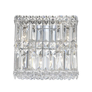 Quantum Stainless Steel Four-Light Clear Spectra Crystal Wall Sconce, 9W x 9H x 9D