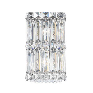 Quantum Stainless Steel Two-Light Clear Spectra Crystal Wall Sconce, 5.5W x 9H x 5.5D