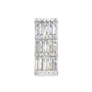 Quantum Stainless Steel Three-Light Clear Spectra Crystal Wall Sconce, 5.5W x 13H x 5.5D
