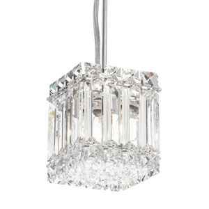Quantum Stainless Steel Two-Light Clear Spectra Crystal Pendant Light, 4W x 5H x 4D