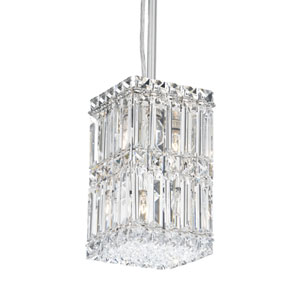 Quantum Stainless Steel Four-Light Clear Spectra Crystal Pendant Light, 5.5W x 9H x 5.5D