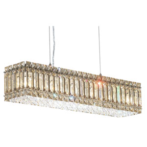 Quantum Stainless Steel Six-Light Golden Shadow Swarovski Strass Pendant Light, 24W x 5H x 24D