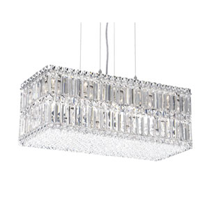Quantum Stainless Steel 18-Light Clear Spectra Crystal Pendant Light, 24W x 9H x 24D