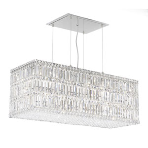 Quantum Stainless Steel 33-Light Clear Spectra Crystal Pendant Light, 36.5W x 13H x 36.5D