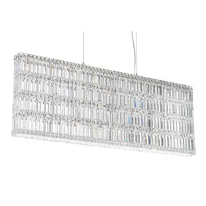 Quantum Stainless Steel 25-Light Clear Spectra Crystal Pendant Light, 48W x 17H x 48D