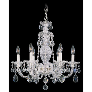 Sterling Silver Six-Light Clear Heritage Handcut Crystal  Chandelier, 21W x 22.5H x 21D