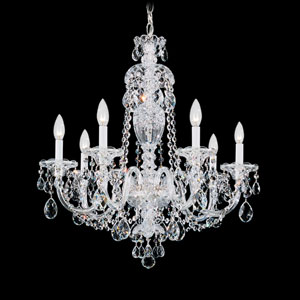 Sterling Silver Seven-Light Clear Heritage Handcut Crystal Chandelier, 25W x 26H x 25D