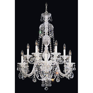 Sterling Silver 12-Light Clear Heritage Handcut Crystal  Chandelier, 29W x 38H x 29D