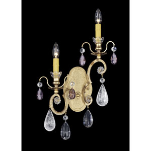 Renaissance New Heirloom Gold Two-Light Amethyst Heritage Handcut Crystal Wall Sconce,  14W x 22.5H x 14D