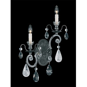 Renaissance Antique Pewter Two-Light Left Wall Sconce with Clear Rock Crystal