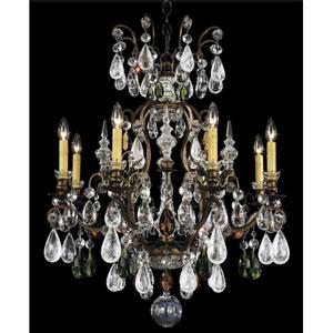 Renaissance Heirloom Bronze Nine-Light Olivine and Smoke Topaz Crystal Rock Crystal Chandelier, 26.5W x 32H x 26.5D