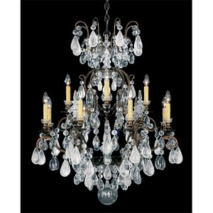 Renaissance Heirloom Bronze 13-Light Chandelier with Clear Rock Crystal