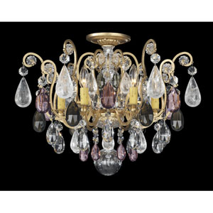 Renaissance New Heirloom Gold Six-Light Amethyst and Black Diamond Rock Crystal Close to Ceiling, 20W x 16H x 20D