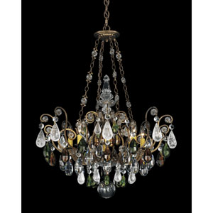 Renaissance Etruscan Gold Eight-Light Olivine and Smoke Topaz Crystal Rock Crystal Chandelier, 26.5W x 35H x 26.5D