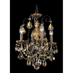 New Orleans Heirloom Bronze Four-Light Golden Teak Swarovski Strass Chandelier, 12W x 16.5H x 12D
