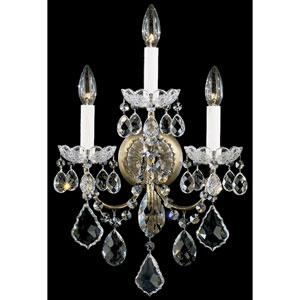 New Orleans Etruscan Gold Three-Light Clear Heritage Handcut Crystal Wall Sconce, 12W x 18.5H x 12D