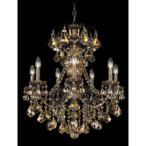 New Orleans Heirloom Bronze Seven-Light Golden Teak Swarovski Strass Chandelier, 24W x 27H x 24D