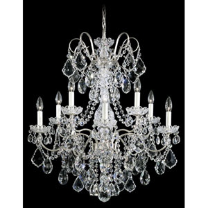 New Orleans Antique Silver 10-Light Clear Heritage Handcut Crystal Chandelier, 28W x 31H x 28D