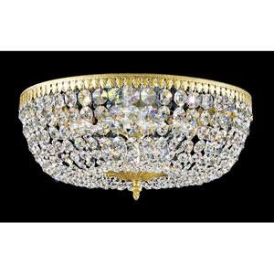Rialto Heirloom Gold Eight-Light Clear Spectra Crystal Flush Mount Light, 18W x 7.5H x 18D