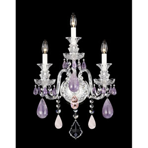 Hamilton Silver Three-Light Amethyst and Rose Rock Crystal Wall Sconce, 14.5W x 23H x 14.5D