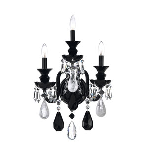 Hamilton Jet Black Three-Light Jet Black Rock Crystal Wall Sconce, 14.5W x 23H x 14.5D